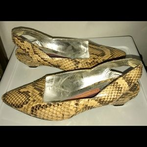 Susan Bennis Shoes Snakeskin 8 1/2B fit 7 1/2